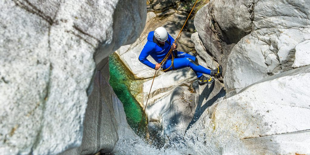 Rappelling while Canyoning in Ticino