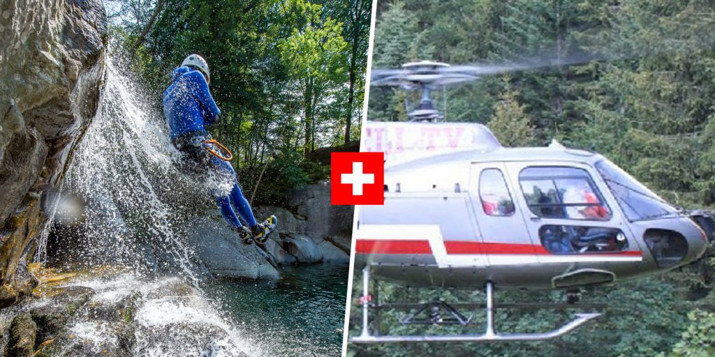 customer sliding during helicopter canyoning tour